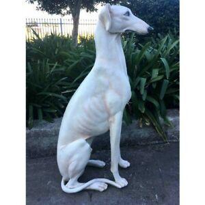Greyhound Dog Sitting Statue Sculpture 78 cm