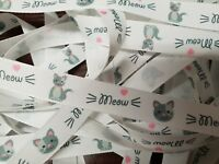 Meow Kitten Cat Ribbon Width 15mm by Berisfords for Habicraft  Various Lengths