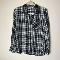 GAP Women's Flannel Shirt Size Large Top Blouse Plaid Black White Long Sleeves