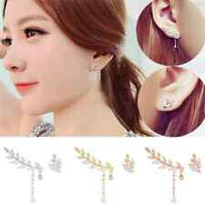 Womens Asymmetric Silver Gold Leaf Crystal Ear Cuff Stud Clip Earrings Jewelry