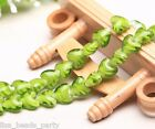 10pcs 16x14mm Exquisite Heart Lampwork Glass Finding Loose Spacer Beads Lt Green
