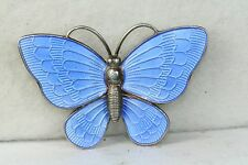 VTG DENMARK STERLING SILVER LIGHT BLUE ENAMEL BUTTERFLY PIN VB VOLMER BAHNER