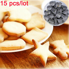 15pcs/set Biscuit Cake Baking Tools Chocolate Cutter Geometry Shape Cookies Mold