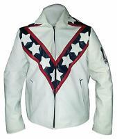 Men Vintage Evel Knievel Stunt Performer Biker Cafe Racer Style Leather Jacket