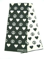 MOSCHINO LOVE & PEACE  SCARF UNISEX  BLACK & WHITE   NEW 100% AUTHENTIC