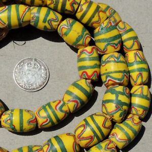 42 old antique venetian oval fancy beads african trade #1648