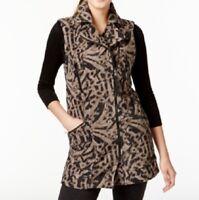 Calvin Klein Performance Women's Print Active Vest, Brown-Gray/Black, XS/S/M