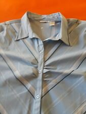 Cotton Express Plus 30/32 4X Short Sleeve Button Up Blouse Stretch Shirt Blue