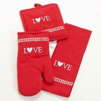 LOVE HEART 3 PC KITCHEN SET POT HOLDER OVEN MITT TOWEL MOTHERS DAY GIFT NEW