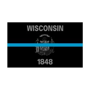 Wisconsin WI State Flag Thin Blue Line Police Sticker / Decal #288 Made in USA