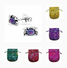 Childrens Girls Sterling Silver Crab Stud Earrings Multi Lavender Opal - Pouch
