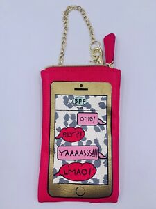 """Betsey Johnson Wristlet / Cell Phone Pouch """"BFF: OMG!"""" Graphic"""