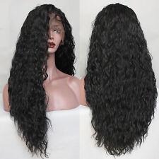 frente del cordón sintético rizado largo suelto pelucas pelo negro moda mujer