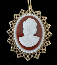 Large Bold Vintage Lady Head Cameo Necklace Pendant on Star Setting NOS