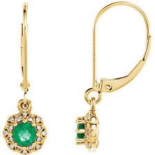 Esmeralda & Diamante Pendientes en 14k ORO AMARILLO