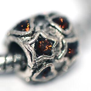 1X Heart Star Bead Charm Silver Fit Eupropean Chain Bracelet Making Jewelry DIY