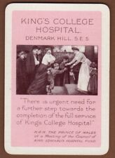 Playing Cards 1 Single Swap Card Old Vintage Wide KING'S COLLEGE HOSPITAL Nurse