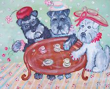 Miniature Schnauzer having Afternoon Tea 2.5 x 3.5 Aceo Dog Pop Art Print Ksams