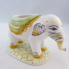"Ceramic Elephant Planter White w Light Green Blanket 3.5"" x 5.5"""