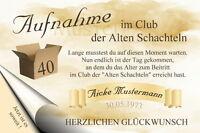 """Urkunde """"Club der alten Schachteln"""" 18 20 30 40 50 60 70 Geburtstag         8331"""