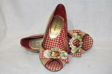 """CHINESE LAUNDRY """"Picnic Heels"""" Red Gingham Trimmed, Open Toe Pin Up Shoes, Sz 7M"""