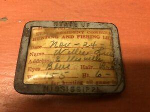1948 Mississippi Hunting & Fishing License with metal pinback holder vintage