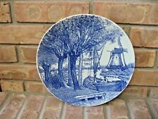 "ANTIQUE BOCH DELFT BLUE/WHITE PORCELAIN  11 3/8"" PLATE WINDMILL"