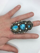 Rare And Stunning Huge Navajo Silver Ring Signed Turquoise Old Pawn