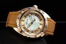 Invicta 38mm Women's Venom Python Rose Gold Case White MOP Brown Silicone Watch