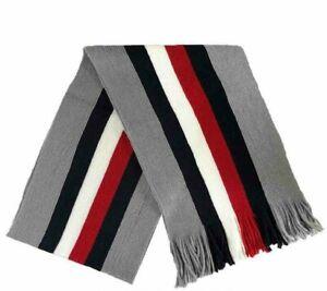 Tommy Hilfiger Men's Striped Scarf Granite Heather-One Size