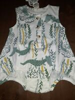 Kate Quinn  Crocodile Sleeveless Henley Bubble 0-3 Mos NEW