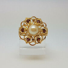 Vintage 9ct Gold Garnet and Pearl Cluster Ring. Goldmine Jewellers.