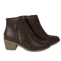 """JC Perforated Brown Leather Side Zip Ankle Boots Booties 2"""" Chunky Heels Size 10"""