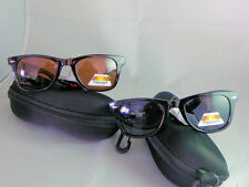 SUNGLASSES DE SOL WAYFARER BROWN OR BLACK POLARIZED,- WITH COVER