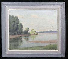 Georges GOUDE (1892-1953) La loire Paysage huile / panneau Vezins Maine-et-Loire