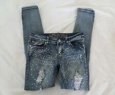 Wax Jeans Women's Distressed Embellished Skinny Jeans Sz 7