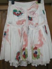 "Firetrap White Pink Multi Gypsy Skirt Lined Zip Pockets Full 28/30"" Waist UK 8?"