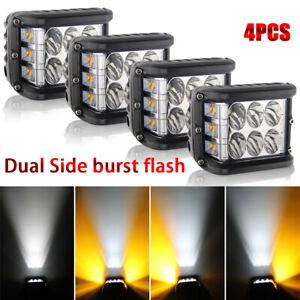 4Pcs 4Inch LED Work Cube Side Shooter Strobe Light Bar Pod White & Amber SUV ATV