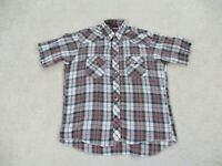Wrangler Shirt Adult Large Brown Red Pearl Snap Western Rodeo Cowboy Mens *