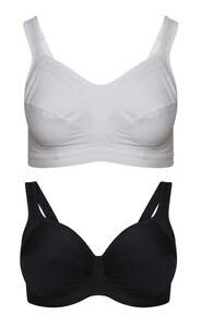 Women's Ex M&S Sports Bra Sportswear Black White Active wear Lingerie