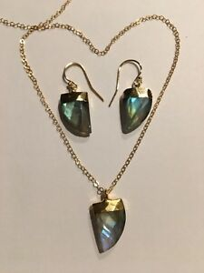 SET- Shark Tooth Shape Matching Stone- Gold Filled Hook Earrings And Necklace