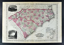 1865 Johnson Map North Carolina & South Carolina Charleston Sumter Cape Hatteras