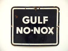 Old Vintage Porcelain Sign Gulf Oil No Nox Gasoline Sign Gas Pump Service Stop