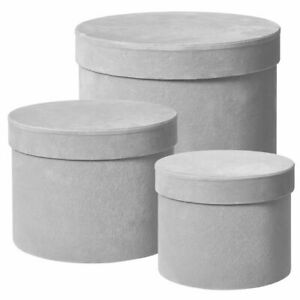 Round Grey Velour Hat Boxes (set of 3) With Plastic Liners Floristry Gifts