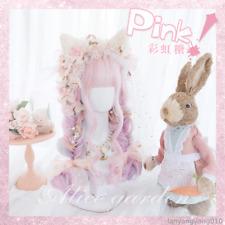 Sweet Kawaii Lolita Rainbow Candies Cosplay Women Harajuku Long Curly Hair Wig