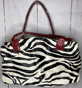 Zebra Large Travel Bag Weekender Duffel Black White Red Double Handles M