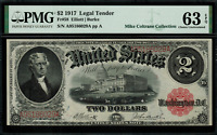 1917 $2 Legal Tender FR-58 - Graded PMG 63 EPQ - Choice Uncirculated