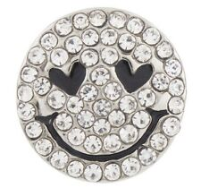 Snap button CZ Smiley Face 18mm charm chunk