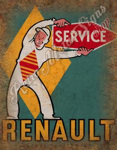 RENAULT SERVICE VINTAGE RETRO GARAGE METAL TIN SIGN POSTER WALL PLAQUE