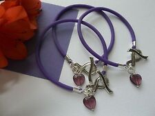 3 PANCREATIC CANCER AWARENESS  BRACELETS WITH RIBBON TOGGLE CLASP